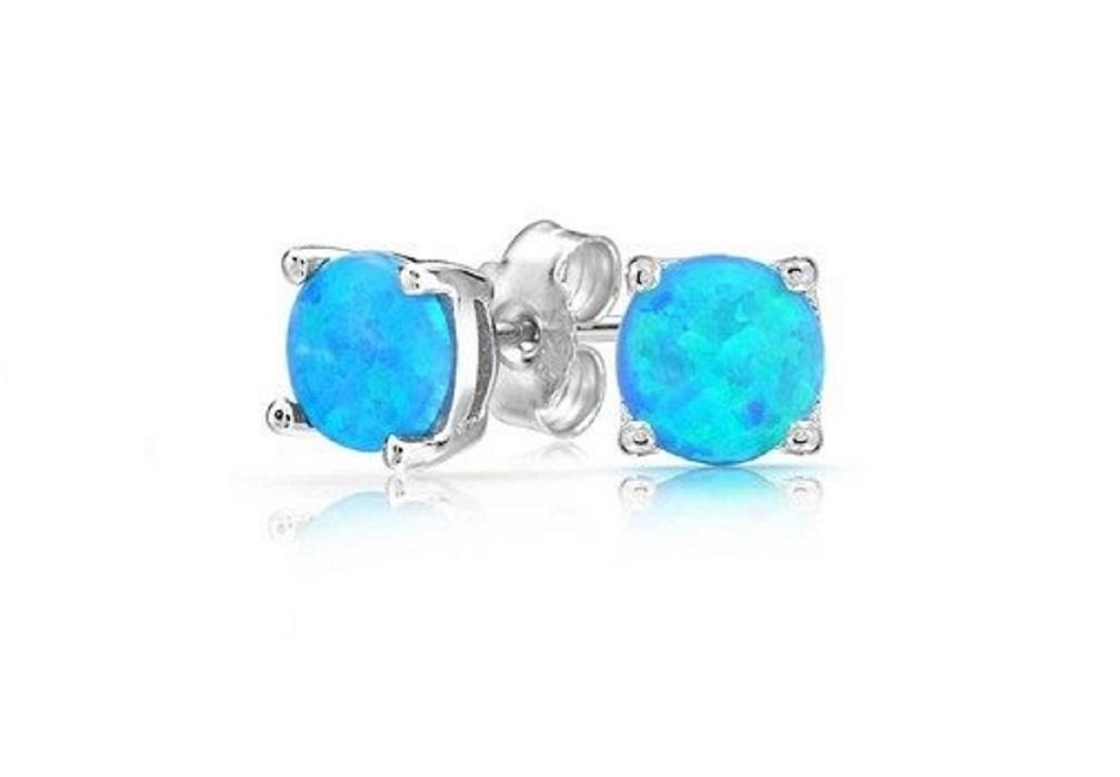 Round Blue Simulated Opal Stud Earrings Sterling Silver