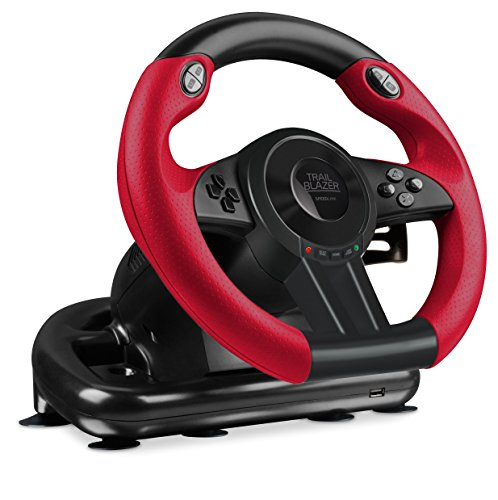 Speedlink Trailblazer Racing Wheel for Playstation 3, PS4 and PC SL-450500-BK, Highly Responsive Gas and Brake Pedals, Ultra-Precise Digital D-Pad, Black ()