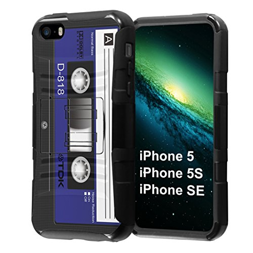 iPhone SE Case, Capsule-Case Hybrid Dual Layer Combat Full Armor Style Kickstand Case with Holster Combo (Black) for iPhone SE/iPhone 5s / iPhone 5 - (Blue Cassette Tape)