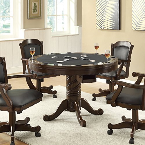 Turk 3-in-1 Round Pedestal Game Table Tobacco (3 In 1 Poker Table Bumper Pool)