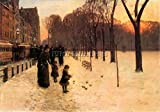 BOSTON IN EVERYDAY TWILIGHT BY HASSAM ARTIST PAINTING REPRODUCTION HANDMADE OIL 28x40inch