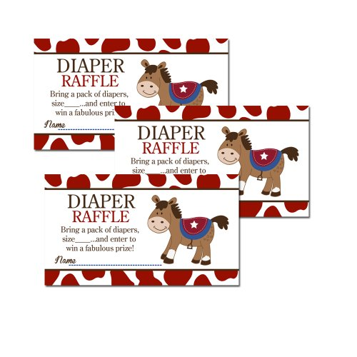 Round Em Up Western Horse Baby Shower Diaper Raffle Tickets 20-pack (Theme Invitations Western)