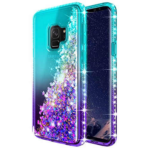 Galaxy S9 Case with Screen Protector (Full Coverage) for Girls Women, NageBee Glitter Liquid Sparkle - http://coolthings.us