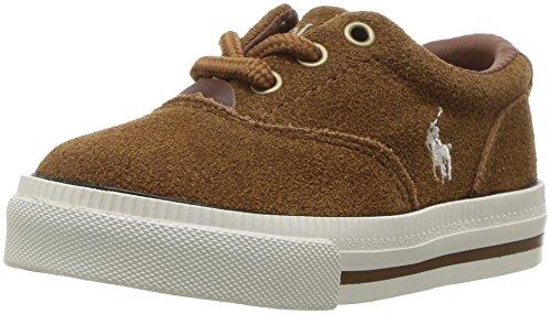 Polo Ralph Lauren Kids Boys' Vaughn II Sneaker, Snuff Suede, 4 Medium US Big Kid