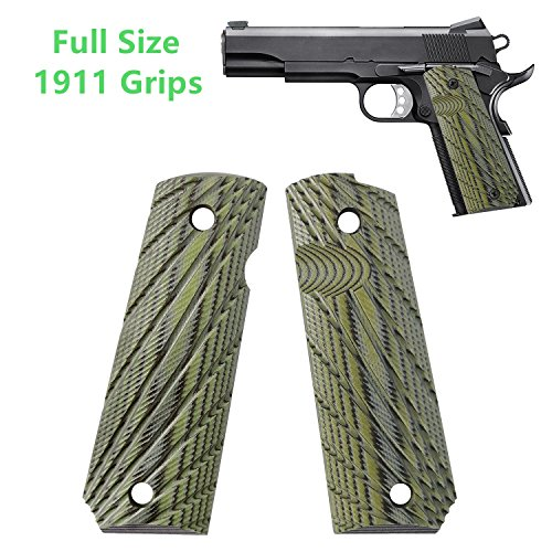 1911 Commander Grips Colt Full Size Government 1911 Grips, Rays Texturl G10 Material Ambi Safety Cut,fit Colt Kimber Rock Island Sig Sauer Smith&Wesson Springfield Armory Taurus and More
