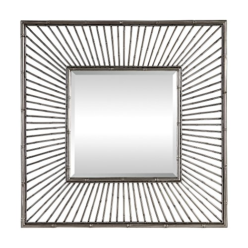 My Swanky Home Silver Metal Bamboo Sunburst Square Wall Mirror | 39