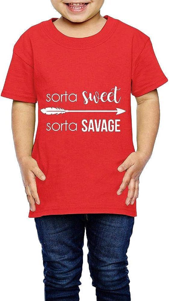 XYMYFC-E Sorta Sweet Sorta Savage 2-6 Years Old Boys /& Girls Short-Sleeved Tshirts