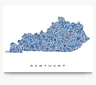 Kentucky Map Print, KY State Wall Art Decor, Blue