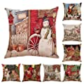 Kiorc Christmas Pillow Covers Embroidery Throw Pillow Cases for Home Car Decorative