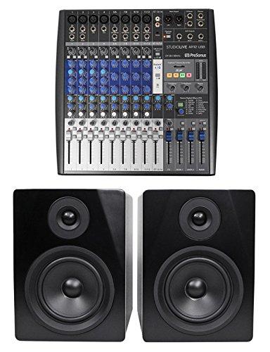 Presonus StudioLive AR12 14-Ch USB Live Sound/Recording Mixer+2) Studio Monitors by PreSonus