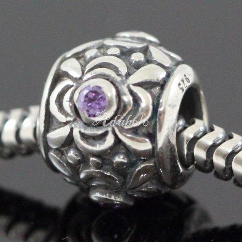 Flower Design .925 Sterling Silver Charm With Birthstone Crystal February Amethyst Fits Pandora, Biagi, Troll, Chamilla and Many Other European Charm (Amethyst Genuine Charm)