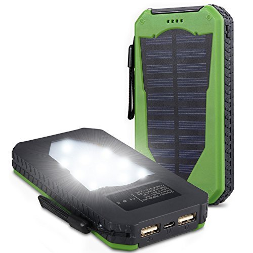 Foreverrise Solar Charger 15000mAh High Capacity Solar Panel Power Bank Portable Battery Pack Bright LED lights Dual USB Solar Battery Charger for Cell Phone,Tablet and othersUSB Devices(Green)