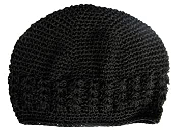 A Girl Company Black Crochet Beanie Hat for Baby and Girl (Preemie up to 4months, Black)