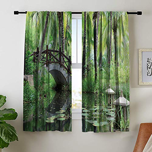 Misscc Home Decor Blackout Curtains, View of Classic Chinese Garden with Small Bridge Over Pond, Living Room Bedroom Kitchen Cafe Printed Window Curtains (2 Panels, 29 W X 36 L Inches) - Pond Over Bridge