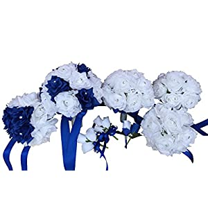 Wedding Artificial Flower Package - Royal Blue and White 13pc Set Bouquets, Boutonniere and Corsage 23