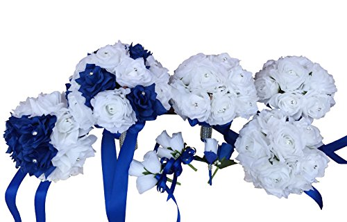 Wedding-Artificial-Flower-Package-Royal-Blue-and-White-13pc-Set-Bouquets-Boutonniere-and-Corsage