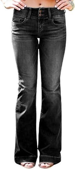 Women's Mid Rise Slim Fit Stretch Classic Straight Leg Bell Bottom Flare Denim Jeans Pants