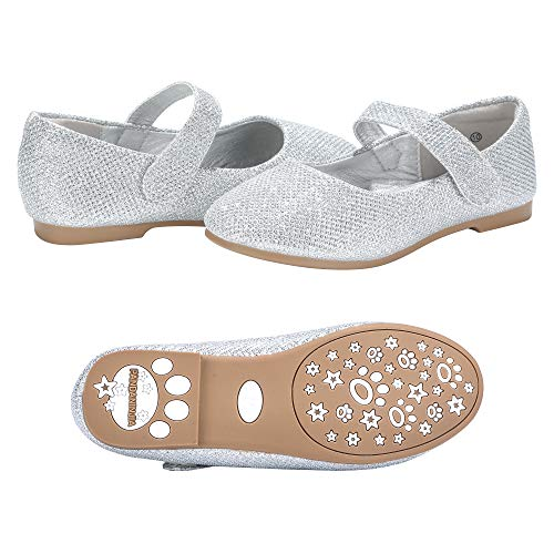 PANDANINJIA Girls Susie Silver Glitter Party Wedding Ballerina Ballet Mary Janes Flats Dress Shoes (Toddler/Little Kid)