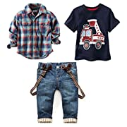 LUKYCILD Baby boy suit plaid shirts+car printing t-shirt+jeans 3pcs (5T, Blue)
