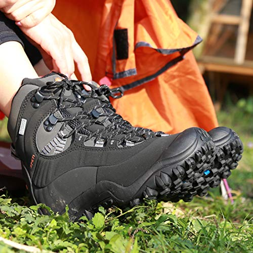 Manfen Women's Hiking Boots Lightweight Waterproof Hunting Boots, Ankle Support, High-Traction Grip Black, 9.5