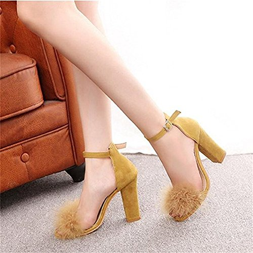 on JULY Toe Womens T Yellow Shoes Fur Chunky Pumps Slip for Peep Dress Platform Sandals Rabbit Sexy Strap Heels Ankle ZS4qSdw