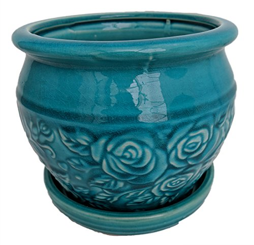 Rosalia Planter with Attached Saucer - Turquoise - 6
