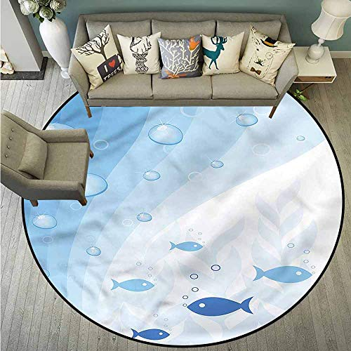 - Indoor/Outdoor Round Rugs,Aquarium,Waves Bubbles Plants Fish,Super Absorbs Mud,2'11