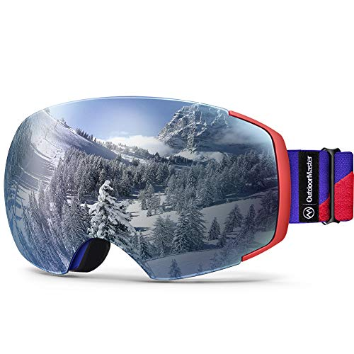 (OutdoorMaster Ski Goggles PRO - Frameless, Interchangeable Lens 100% UV400 Protection Snow Goggles for Men & Women (Blue-Red Frame VLT 12% Sapphire Lens and Free Protective Case))