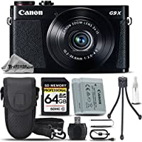 Canon PowerShot G9 X Digital Camera (Black) + 64GB Class 10 Memory Card+ Backup Battery + Card Reader + Tripod + Case - International Version