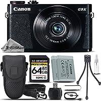 Canon PowerShot G9 X Digital Camera (Black) + 64GB Class 10 Memory Card+ Backup Battery + Card Reader + Tripod + Case - International Version