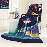 YOYI-HOME Super Soft Lightweight Duplex Printed Blanket Space Galaxy Cosmos Universe Themed Solar System Stardust Comet UFO Planetary Multicolor Oversized Travel Throw Cover Blanket /W59 x H79