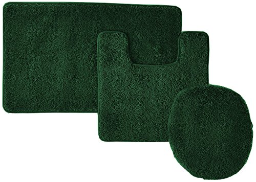 Elegant 3 Piece Bathroom Set Bath Mat, Contour Rug, and Lid Cover, with Rubber Backing (Hunter (Hunters Bathroom Set)
