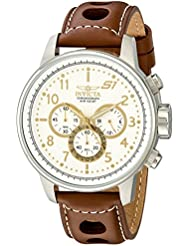 Invicta Mens 16010 S1 Rally Stainless Steel Watch with Brown Leather Band
