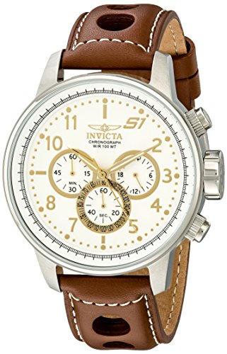 Invicta-Mens-16010-S1-Rally-Stainless-Steel-Watch-with-Brown-Leather-Band