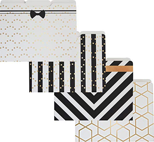 - Blu Monaco Decorative File Folders - 1/3 Cut Tabs Gold File Folders - Letter Size - Set of 12-3 Each of 4 Cute File Folders Patterns with Gold Foil