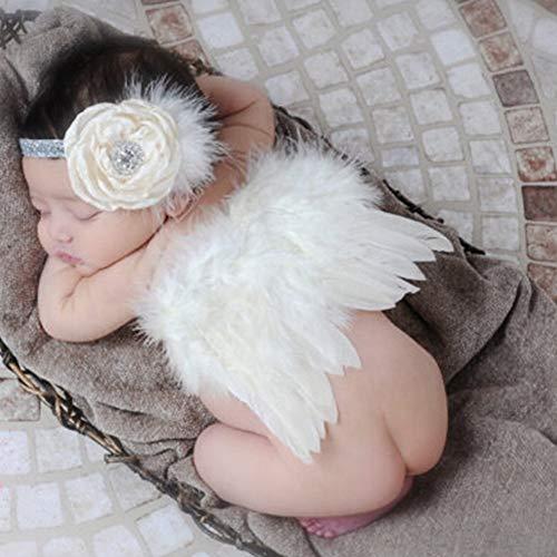 ciaraq plumas alas de ángel Rhinestone Diadema Set Bebé gasa flor diadema accesorios para el pelo recién nacido Photo Prop...