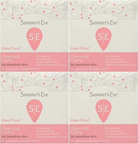 Summer's Eve Cleansing Cloth Sheer Floral, 16 Count (Pack of 4) by Summer's Eve