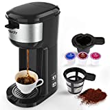 Single Serve K Cup Coffee Maker Brewer for K-Cup Pod & Ground Coffee, Compact Design Thermal Drip...