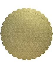 PETIT MANON Cake Boards Round, 8 inch Disposable Layered Cake Pizza Circle Scalloped Gold Stackable Tart Decorating Base Stand