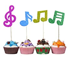 Colybecation 36pcs Super Glitter Music Notes Cupcake Muffin Topper Picks Cake Decoration Baby Shower Birthday Party Favors