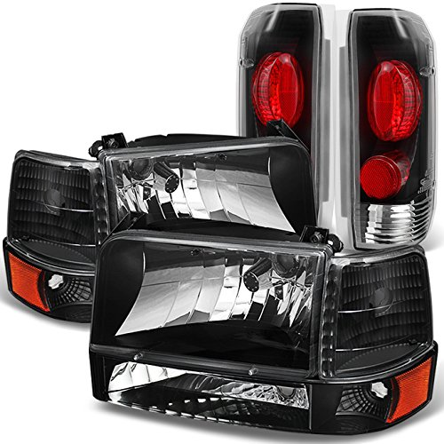 For 1992 1993 1994 1995 1996 Ford Bronco F150 F250 F350 Black Headlights & Tail Lights Replacement Pair