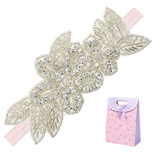 Elesa Miracle Little Baby Girl Rhinestone Flower Headband, Baby Hair Accessories in Gift Bag (1pc- Pink Headband)