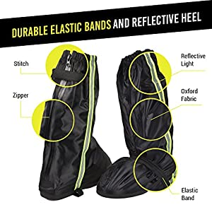 Anti-Slip Motorcycle Boot Rain Covers Shoes with Green Reflective Line size Men 7.5-8 Women 9-9.5 with Sturdy Zippered Elastic Bands for Outdoor Activities Hiking Fishing Snowmobiling