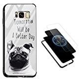 Galaxy S8 Plus Tempered Glass Case, Vandot Clear Sleek 9H Hardness Hard Back + Soft TPU Frame Bumper + Colorful PC Panel Hybrid Double Protection Slim Fit Full Edges Protective Case-Puppy Dog
