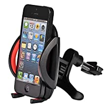 Mudder Universal Car Air Vent Mount Holder Airframe Cradle for Cellphone iPhone 4 4S 5 5S 5C, Samsung Galaxy S3 S4 S5, Galaxy Note 2 3, LG G2, Motorola Moto X Droid HTC One, Nexus 5, GPS Navigation, Red