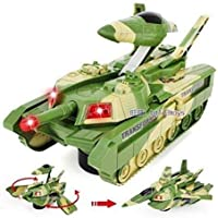 ANVIT Toy World Transformer Tank Aircraft | Convertible Tank & Jet Fighter Airplane Toy with Lights and Shooting Music