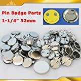 100Sets 1-1/4'' 32mm Pin Badge Button Parts Supplies for Pro Maker Machine