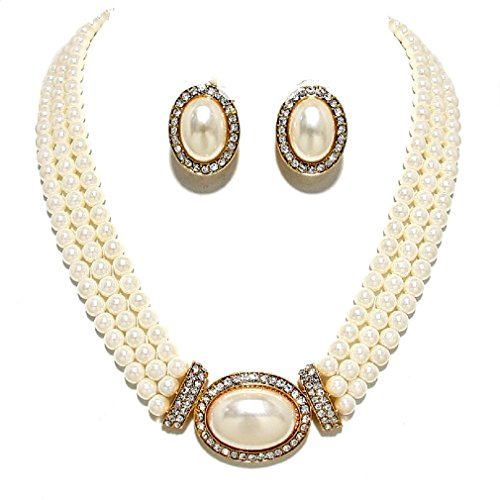 Women's Prom Bridal Strands Cream Simulated-Pearl Crystal Gold Necklace Clip on Earrings Set Gift Bijoux ()