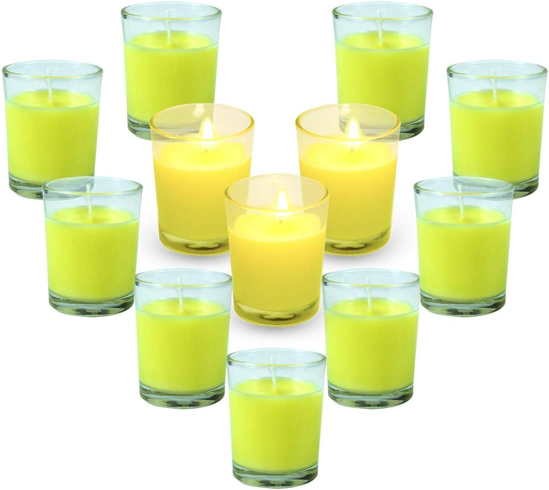 LA BELLEFÉE Citronella Candles, 12 x 2oz Aromatherapy Soy Wax Scented Votive Candle Set for Home, Kitchen, Bars, Office, Outdoor/Indoor (Clear Glass)