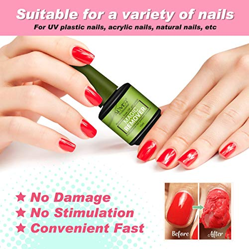 Gel Nail Polish Remover, Magic Nail Polish Remover, Easily & Quickly Removes Soak-Off Gel Polish, Don't Hurt Nails, Professional Non-Irritating Nail Polish Remover-15ml